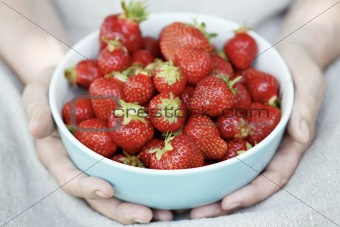 Bowl of strawberries.