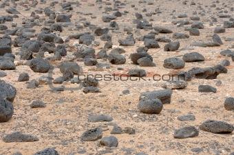 Black Volcanic Stones at Canary Island Fuerteventura, Spain