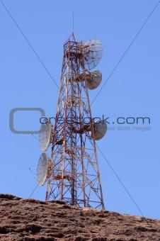 Broadcast antenna on mountain