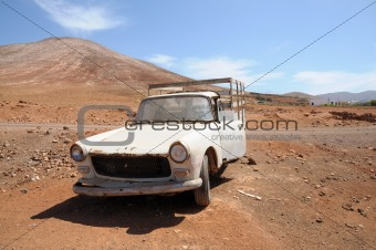 Abandoned old pickup car on Fuerteventura
