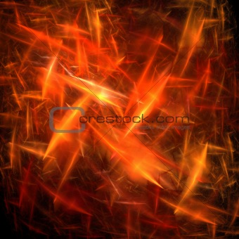 Orange and red static, lightening or electric charged explosion fractal. texture.