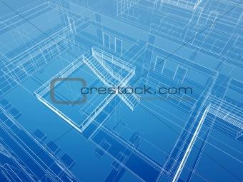 Architectural interior wired background