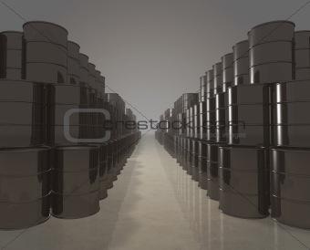 Oil barrels depot