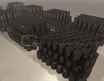 Oil barrels in storage