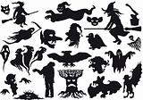 Halloween Monsters Silhouettes