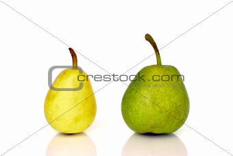 Green and yellow pears