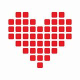 Seamless, simple red Pixel Heart