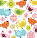Floral Abstract Background with Bird