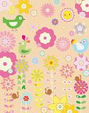 Floral Abstract with Bird