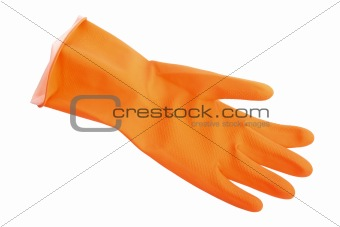 One orange rubber glove.