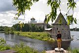 Ancient Pskov fortress view from river bank