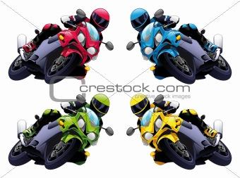 Set of Vector motorbikes
