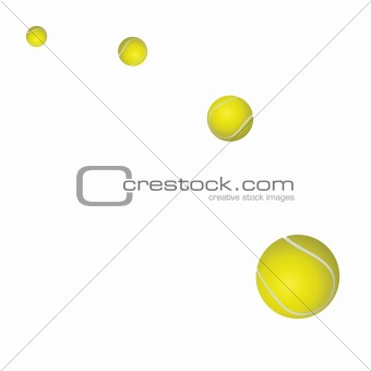 Four yellow tennis balls. Vector illustration