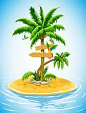 tropical palm tree on the uninhabited island in the ocean