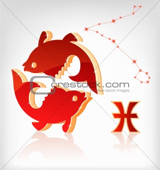 fishes zodiac astrology icon for horoscope
