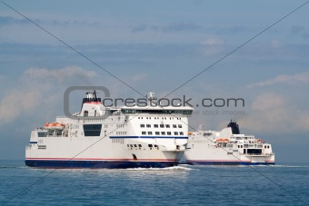 A pair of ferry ships