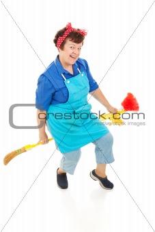 Housekeeper Riding Broom