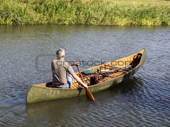 man in a canoe
