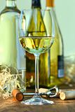 Glass of white wine with bottles