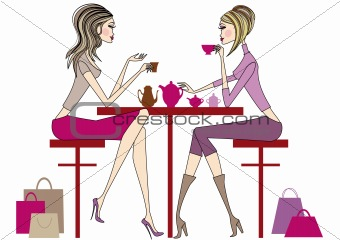 Women sitting in coffee bar, vector