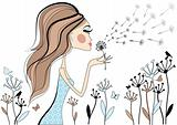 Girl with dandelion, vector