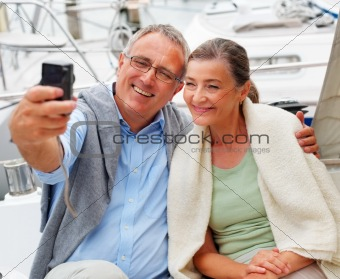 Charming senior couple self photography