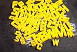 Alphabet and letters on a school blackboard