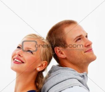Closeup of a happy young couple