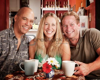 Three Friends in a Coffee House