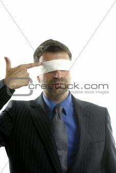 Blindfolded businessman, suicide metaphor