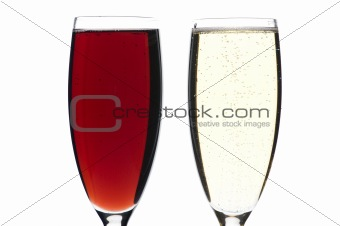 champagne glasses on white closeup