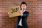 """businessman pleads with sign """"Need Job"""""""