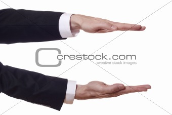 businessman arms shows the height