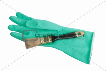 One green rubber glove and brush.