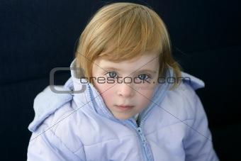 Beautiful blond toddler little girl  winter coat