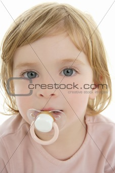 Baby toddler blond hair blue eyes and pacifier