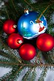 Christmas spruce, Santa Claus and Bauble