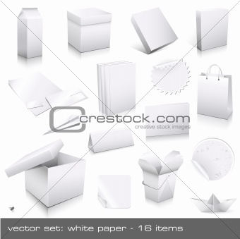 vector set: white paper