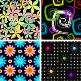 Set  four abstract seamless  black pattern