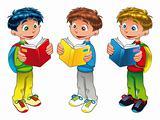 Three boys are reading