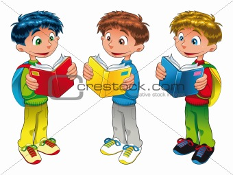 Three boys are reading