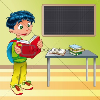 Boy, student in the classroom