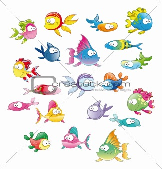Family of fish with background