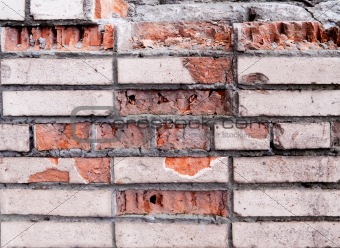 Old damaged brick wall