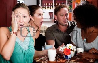 Four Friends Gossiping in a Coffee House
