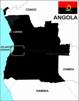 Angola Map Black