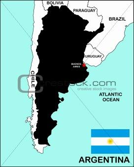 Argentina Map Black