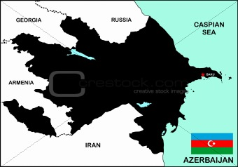 Azerbaijan Map Black