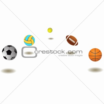 Five different balls.Vector illustration