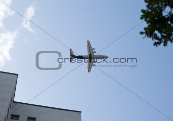 Aeroplane close to buildings